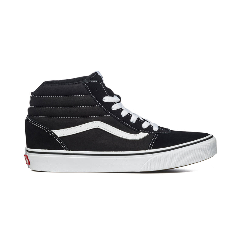 Sneakers alte nere in tessuto e similpelle con cuciture a contrasto Vans Ward Hi, Brand, SKU s354500006, Immagine 0