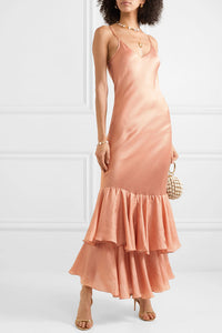 mes demoiselles, Marmelade ruffle silk maxi dress, Rose