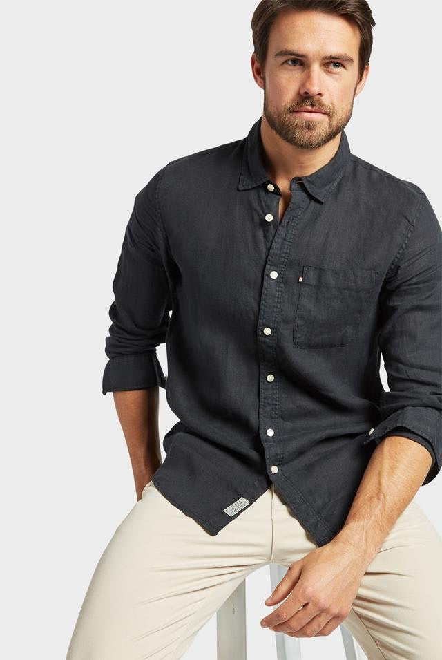 The Academy Brand - Hampton Linen Shirt - Black
