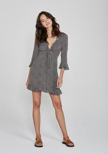 Auguste, Diamond ruffled sleeved mini dress, black