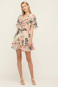 Lover Painterly Floral Mini Dress, Bone