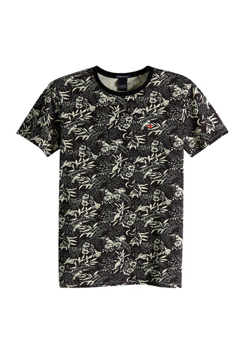 Scotch & Soda, Mens Classic Crew Tee, Black Print Combo G