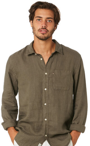 The Academy Brand - Hampton Linen Shirt - Olive
