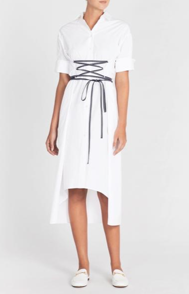 White Story, Elizabeth White/Navy Dress with Lace Up