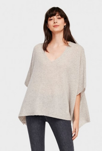 White + Warren, V Neck Poncho, Misty Grey Heather