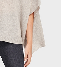 Load image into Gallery viewer, White + Warren, V Neck Poncho, Misty Grey Heather