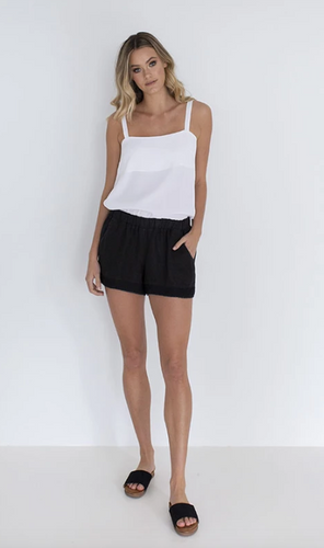 HUMIDITY LIFESTYLE - Sea side linen short - Embroidery Black