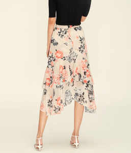 Lover Painterly Floral Midi Skirt, Bone