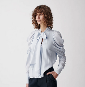 Joslin, Riley Silk Bow Blouse, Ice Blue
