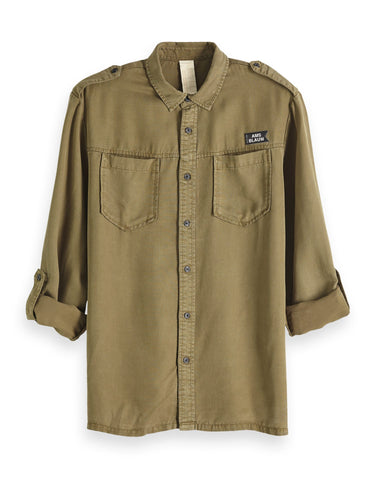 SCOTCH & SODA Regular Fit Workwear Shirt - Military
