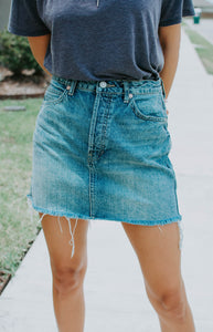 FREE PEOPLE, Skirt Rugged A-Line, Denim Blue