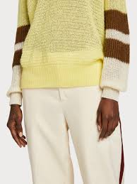 Scotch & Soda, Pullover knit with colourblock sleeves, Citrus