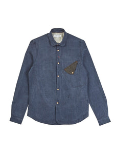 Long Sleeved Fable Shirt, Blue  COLOUR: BLUE  59%LINEN 41%COTTON
