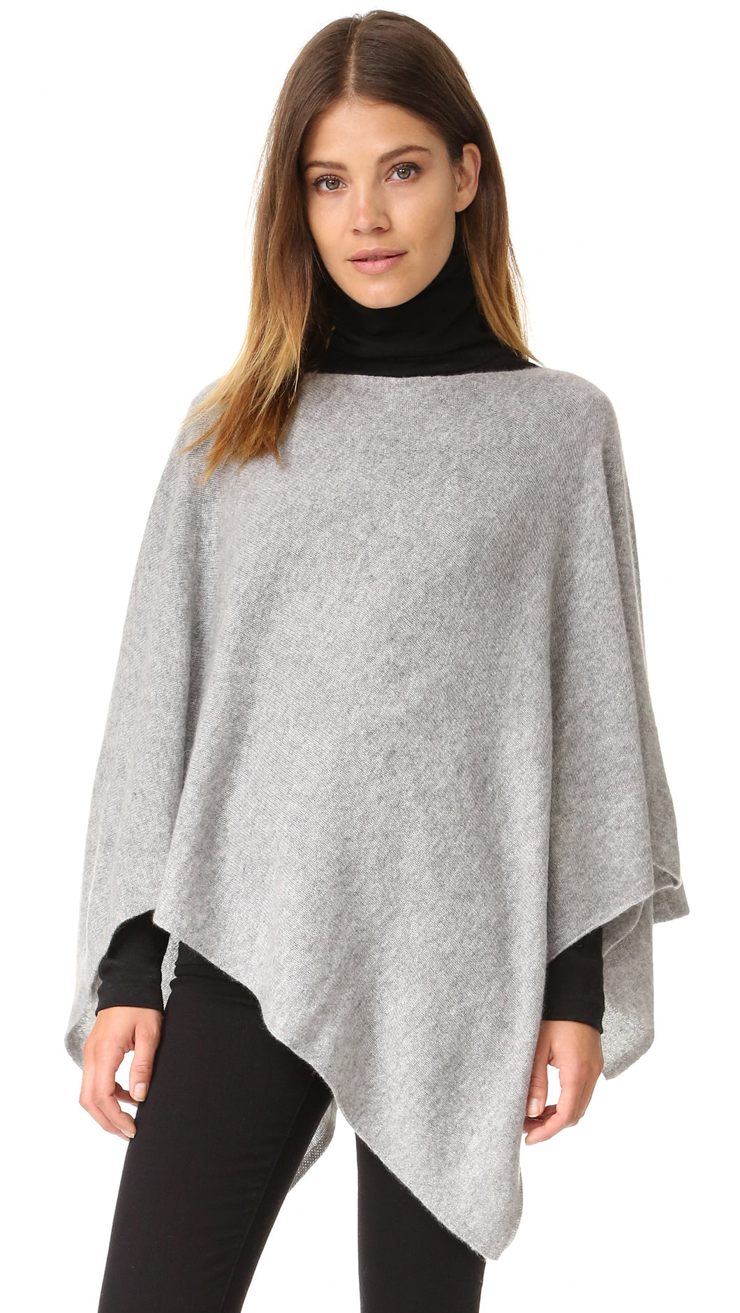 WHITE & WARREN Poncho - Grey Heather