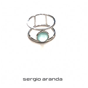 Anillo doble con calcedonia