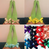 Ava Pin-Up Green With Purple Bows Thigh High Stockings - Choose Colour Bows