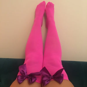 Ava Pin-Up Hot Pink With Purple Bows Thigh High Stockings - More Colours