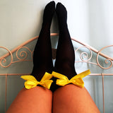 Ava Pin-Up Black With Yellow Bows Thigh High Stockings - Plus Size Available - Cherrylingerie