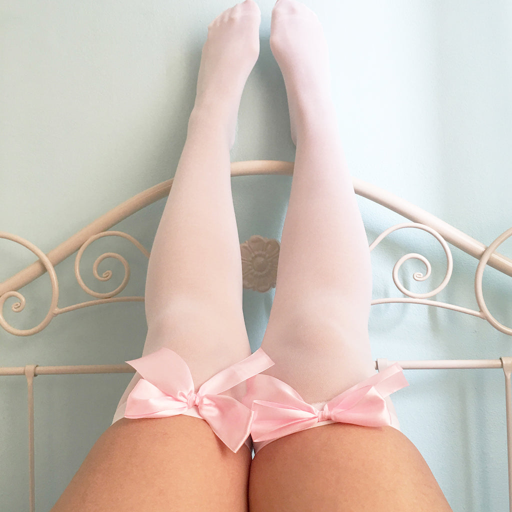 Ava Pin-Up White With Light Pink Bows Thigh High Stockings - Plus Size Available - Cherrylingerie