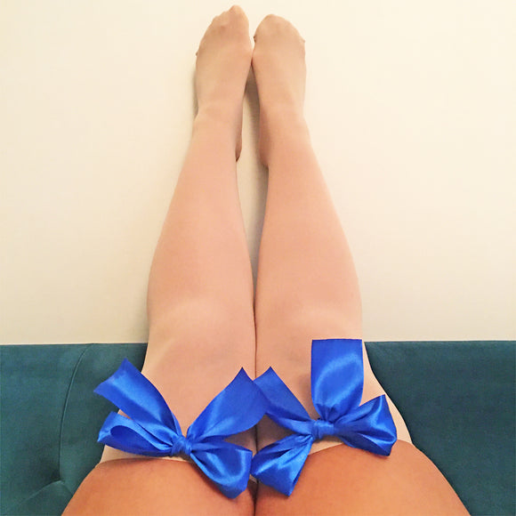 Ava Pin-Up Nude Beige with Royal Blue Bows Thigh High Stockings - More Colours
