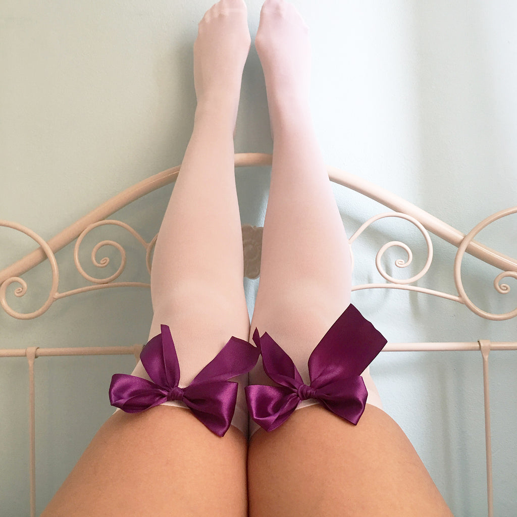 Ava Pin-Up White With Purple Bows Thigh High Stockings - Plus Size Available - Cherrylingerie
