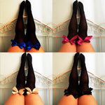 SALE Ava Pin-Up Black Thigh High Stockings - Choose Colour Bows - Plus Size Available - Cherrylingerie