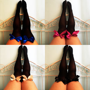 Ava Pin-Up Black Thigh High Stockings - Choose Colour Bows - Plus Size Available - Cherrylingerie