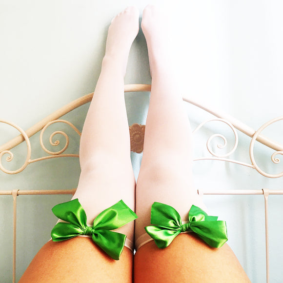Ava Pin-Up White With Green Bows Thigh High Stockings - Plus Size Available - Cherrylingerie