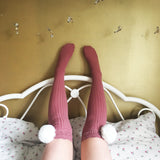 SALE Cherry White Pom Poms & Light Pink Knit Lounge Knee High Socks - More Colours - Cherrylingerie
