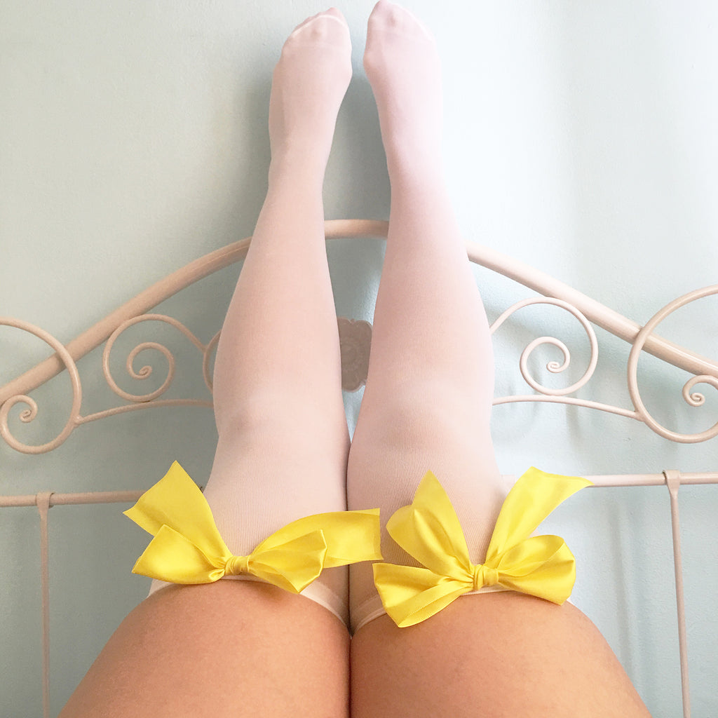 Ava Pin-Up White With Yellow Bows Thigh High Stockings - Plus Size Available - Cherrylingerie