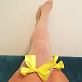 Ava Pin-Up Nude Beige with Yellow Bows Thigh High Stockings - More Colours