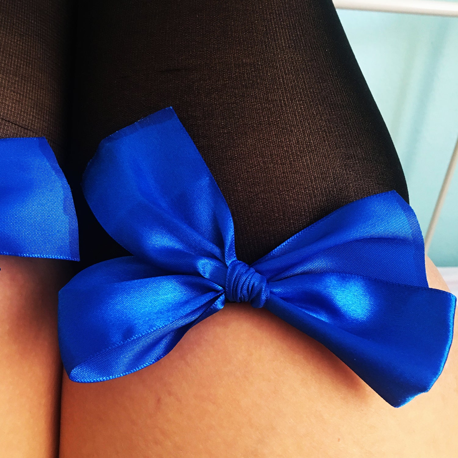 SALE Ava Pin-Up Black With Royal Blue Bows Thigh High Stockings - Plus Size Available - Cherrylingerie