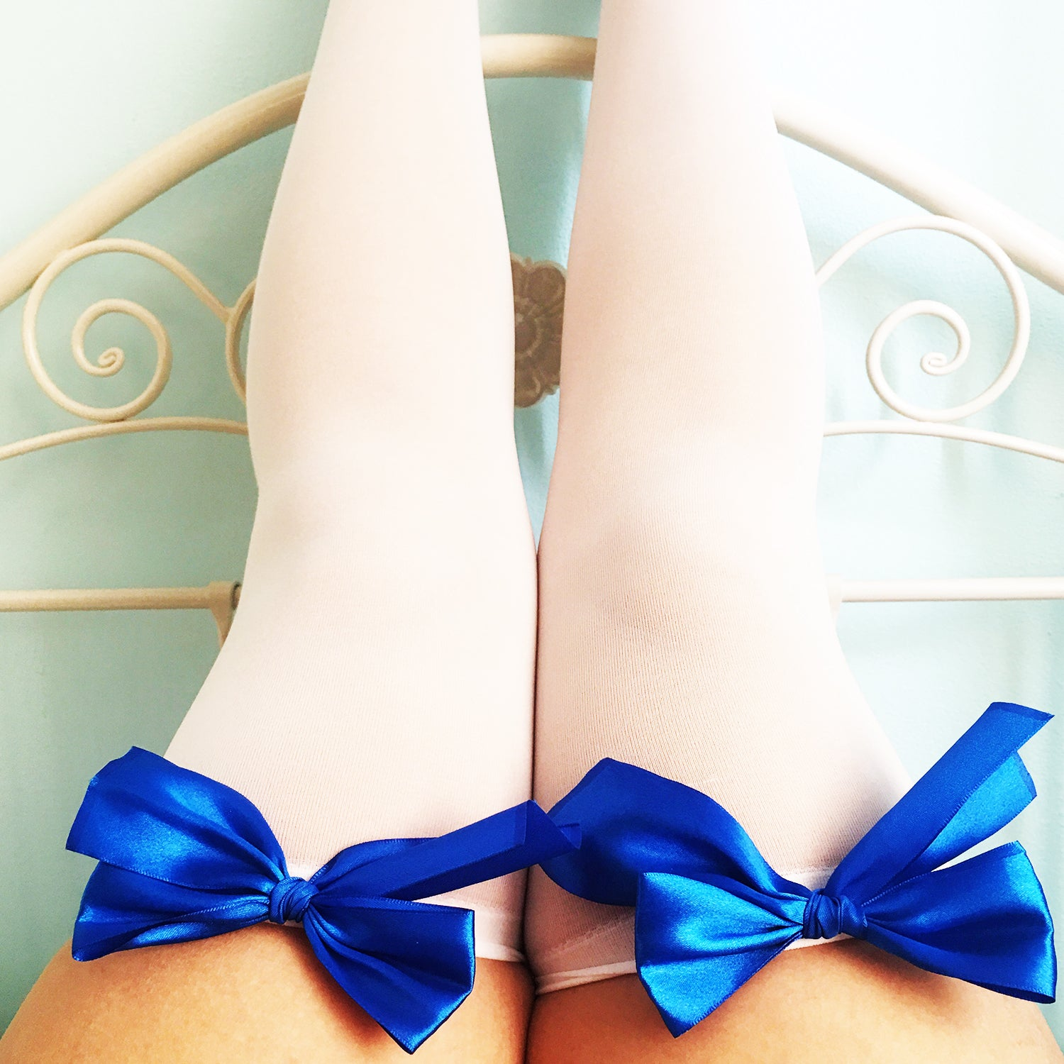 SALE Ava Pin-Up White With Royal Blue Bows Thigh High Stockings - Plus Size Available - Cherrylingerie