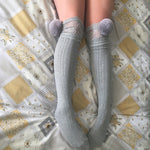Cherry Grey Pom Poms & Grey Knit Lounge Knee High Socks - More Colours - Cherrylingerie