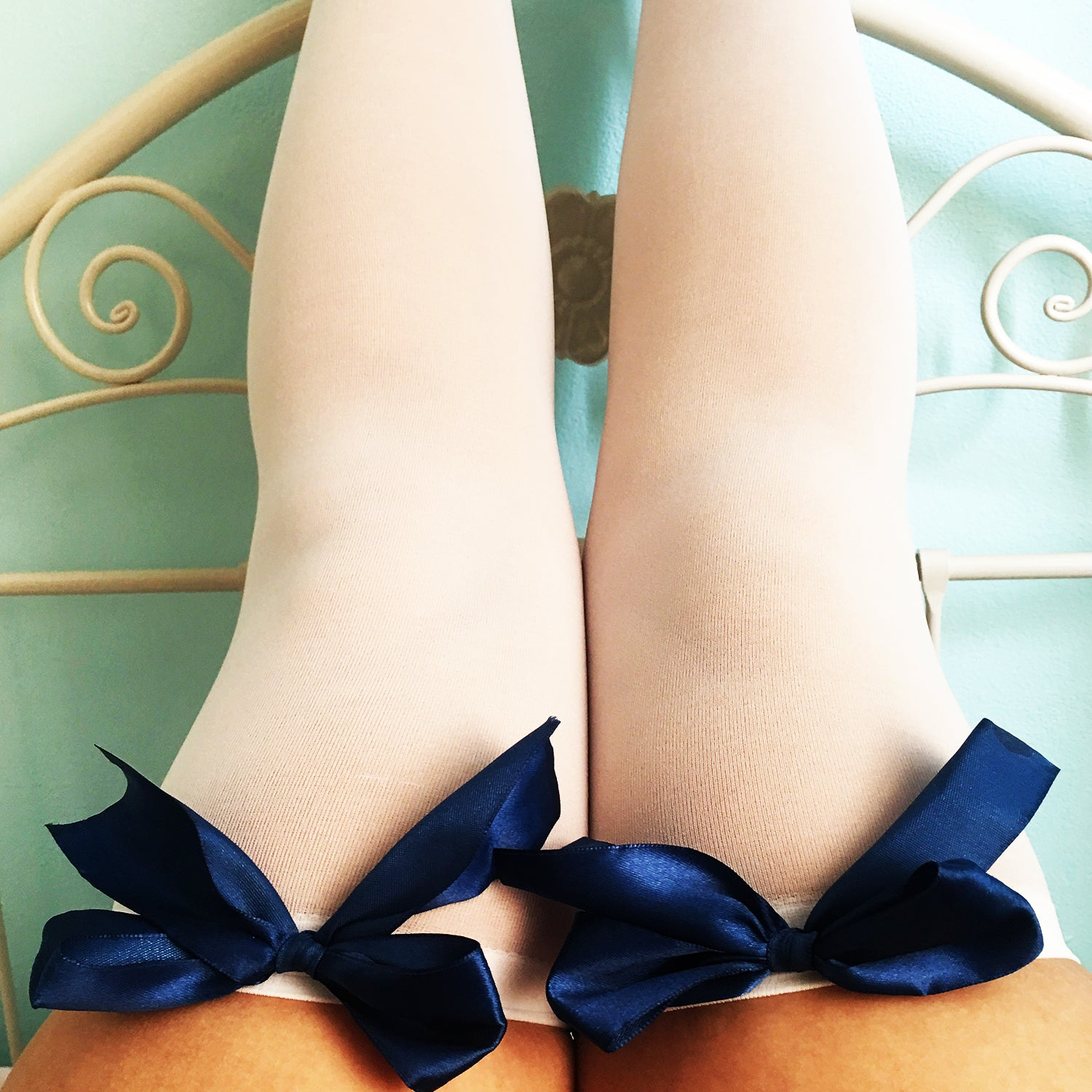 Ava Pin-Up White With Navy Blue Bows Thigh High Stockings - Plus Size Available - Cherrylingerie