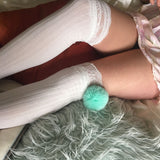 SALE Cherry Turquoise Pom Poms & White Knit Lounge Knee High Socks - More Colours - Cherrylingerie