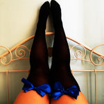 Ava Pin-Up Black With Royal Blue Bows Thigh High Stockings - Plus Size Available - Cherrylingerie
