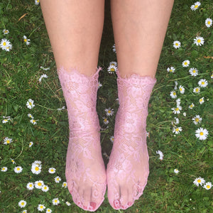 Emiko Victoriana Pink Lace Socks - More Colours - Cherrylingerie