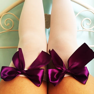 SALE Ava Pin-Up White With Purple Bows Thigh High Stockings - Plus Size Available - Cherrylingerie