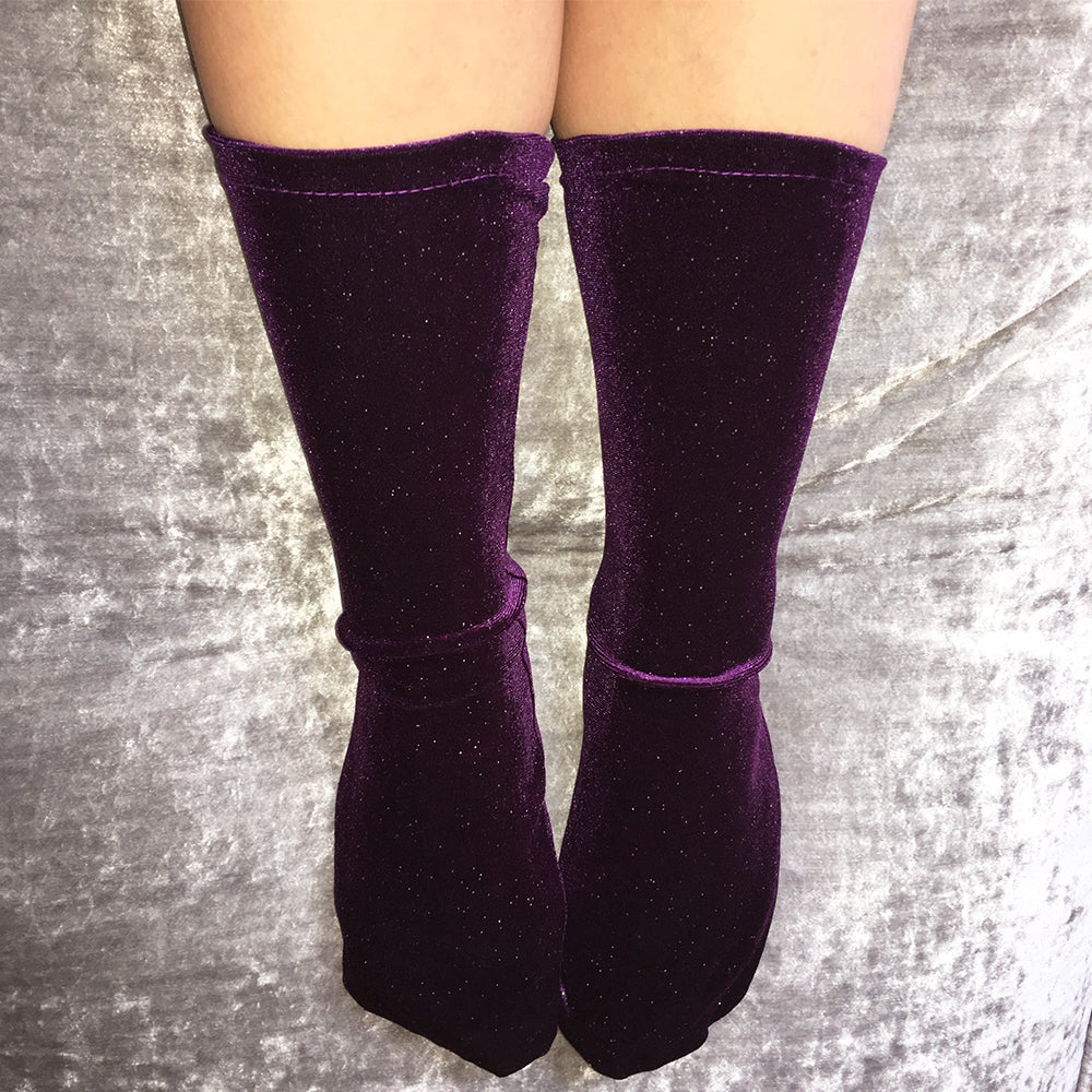 Sabrina Saturn Ultraviolet Purple Velvet Socks - More Colours - Cherrylingerie