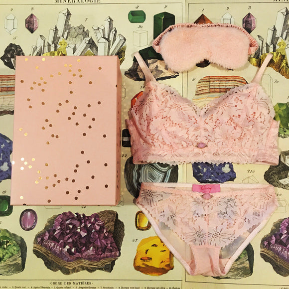 Lingerie Gift Box - Penelope Pink Calcite Lace Bralette, Knickers & Silk Sleep Eye Mask Set - Curiosities Crystals Collection