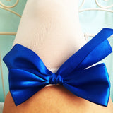 Ava Pin-Up White With Royal Blue Bows Thigh High Stockings - Plus Size Available - Cherrylingerie