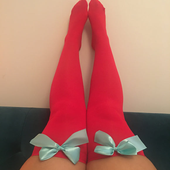 Ava Pin-Up Red With Light Blue Bows Thigh High Stockings - Choose Colour Bows