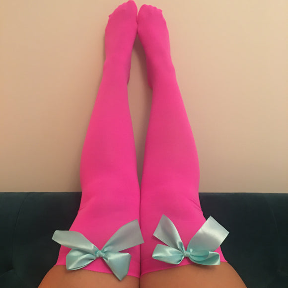 Ava Pin-Up Hot Pink With Light Blue Bows Thigh High Stockings - More Colours