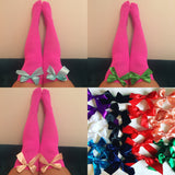 Ava Pin-Up Hot Pink With Green Bows Thigh High Stockings - More Colours