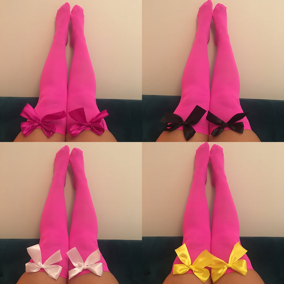 Ava Pin-Up Hot Pink Thigh High Stockings - Choose Colour Bows