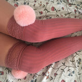 SALE Cherry Pink Pom Poms & Light Pink Knit Lounge Knee High Socks - More Colours - Cherrylingerie
