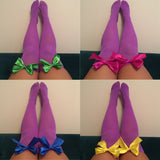 Ava Pin-Up Purple with Purple Bows Thigh High Stockings - More Colours