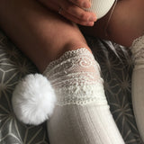 SALE Cherry White Pom Poms & White Knit Lounge Knee High Socks - More Colours - Cherrylingerie