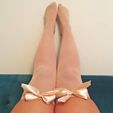 Ava Pin-Up Nude Beige with Gold Bows Thigh High Stockings - More Colours
